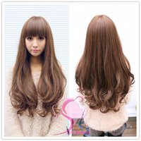 Wholesale New Style Womens Girls Popular Sexy Long Fashion Full Wavy Hair Wig Colors FREE GIFT Hairnet Black and Brown