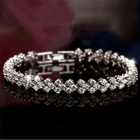 Wholesale 925 sterling silver crystal jewelry charm bracelets swarovski elements Rhinestone chain fashion vintage wedding top quality