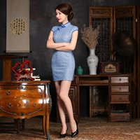 Wholesale 2016 The new jacquard cotton complex lace Qipao dress daily composite short sleeve cheongsam dress elegant sheath Chinese dress