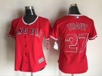angels baseball logo - Los Angeles Angels Cool Base Jersey Womens Mike Trout Red Baseball Jersey Embroidery and Sewing Logos