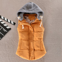 Wholesale Women Winter Vest Waistcoat Hooded Warm Jacket Sleeveless Down Cotton Padded Outwear Overcoat Thick Coat Hoodies Solid Colors
