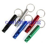 Wholesale Aluminum Alloy Whistle Keyring Keychain Mini For Outdoor Emergency Survival Safety Sport Camping Hunting