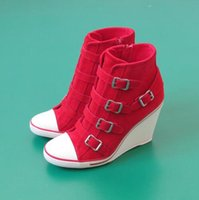 ash thelma wedge sneakers - Top Quality Ash Thelma Buckle Wedge Ankle boots Trainers Suede Leather Red Sneakers On Hot Sale High Top Tide Women s Sport Shoes Size
