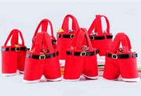 Indoor Christmas Decoration Cloth None 200pcs 21*14.5cm 2017 Christmas Gift Bag Santa Wine Bottle Cover Santa Gift Pant Style Treat Bags For Candy X-mas Gift #RX369
