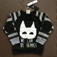 batman jumpers - New spring autumn baby toddler girls boys batman gray stripe hoody kids cotton sweatshirt jumper