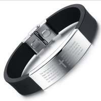Wholesale 2016 seller Hot style stainless steel smooth personality bracelet Men s cross scripture PH867 silicone bracelet