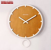 abs clock - GEEKCOOK simple living room wall clock swing MDF wooden wall clock in ABS backplane permapoxy mute machine clock