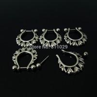 Precio de Pendientes del pezón-envío 20pcs al por mayor 1.2 * 12 * 5/5 mm (16G) la perforación del oído acero inoxidable pendiente de la perforación del anillo del pezón