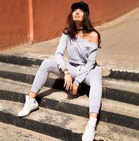 Cheap New arrival 2Pcs Womens Casual Shoulderless Sport Tops Sweatshirt+Pants Sport Suit Sweat Suits Tracksuit Set