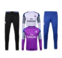 Wholesale 2016 New Season Real madrid Long Sleeve Training Wear And Tracksuit Low Colour purple White Black