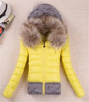 Wholesale 2016 Women Winter Coat Cotton Padded Jacket Short Knitted Hood Fur Collar Womens Winter Jackets and Coats