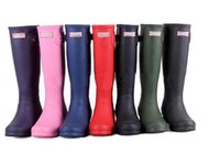 Wholesale For Women Hunters Rain Boots Ms glossy Wellies Over knee High Tall boots Low heel high for laday with buckle Straps hunters sale
