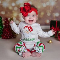 baby girl bay - Autumn babies romper sets bay girls Santa Claus long sleeve tops bowknot stripe trousers sets kids cotton jumpsuit babies clothes T0183