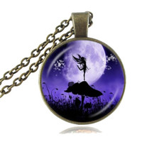 american silhouette - Angel Fairy Silhouette Necklace Snail Mushroom Photo Pendant Full Moon Jewelry Glass Dome Pendant Fashion Accessories Handmade Jewellery