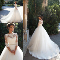 Wholesale 2016 Milla Nova Lace Ball Gown Wedding Dresses Bateau Neckline Long Sleeves Pearls Tulle Krista Appliques Bridal Gowns Chapel Train