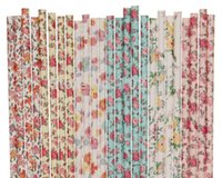 Wholesale Paper Straws Floral Flower Pattern Country Cottage Chic Wedding Birthday Party Mason Jars Picnic