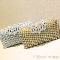Wholesale 2016 woman diamond evening bag rhinestone banquet bag bridal clutch evening bag gold and silver color handbags