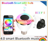 audio spot lighting - 4 smart Bluetooth music Speaker Holiday LED Ball Bulb Audio Spot light Lamp E27 in Portable Wireless Colorful RGB Light
