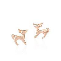 baby girl earings - Earings Fashion Jewelry Cute Running Baby Deer Stud Earrings For Women Girls Kids With Colors Birthday Gift