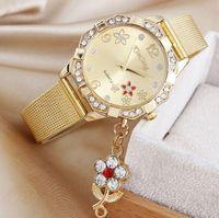 Cheap Flower Pendant women watches epoch premium brand KIMSENG Fashion wire mesh belt Blossom diamond pendant watch flowers Lady watch