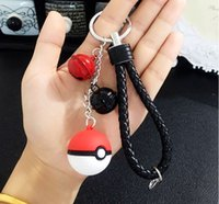 anime knitting - 2016 Pokémon pokeball Keychain with Action Figures Poke Ball knit leather keychain Anime Keychain Keyring Pendant Halloween christmas gifts