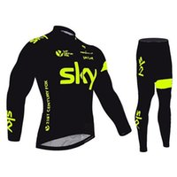 Wholesale 2016 Sky Green Fluo Black long sleeve cycling jersey Tour De France Bike Wear autumn cycling clothing quick dry ropa ciclismo Size XS XL