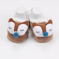 Wholesale cute baby fuzzy warm socks embroidered cartoon winter sock shoes
