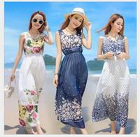 venda por atacado beach dress-Maxi vestidos Mulheres Estilo Verão Floral Imprimir Beach Dress Stripe mangas Maxi Dresses Sexy Elegant vestido boêmio Plus Size Vestidos