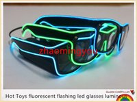 Wholesale YON New Hot Toys fluorescent flashing led glasses luminous colors Rave Costume Party DJ Bright Fashion Neon LED Light Up