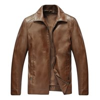 applique cafe - Chinese Mens Tailored Leather Jackets Brown Cafe Black Chaqueta Turn Down Classcial Simple Style Full Zip Fur Coat Man Overcoats