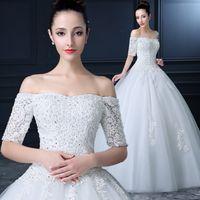 Wholesale 2016 Woman Princess Wedding Dresses Off Shoulder Backless Lace Sequins Long Sleeve Court Train Bridal Gowns