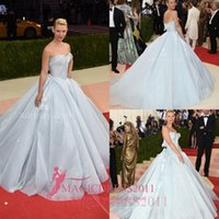 baby met - CLAIRE DANES Cute Strapless Sweetheart Baby Blue Formal Evening Dresses MET GALA Ball Gown Ruffled Puffy Prom Gowns Celebrity Dress