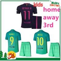Wholesale 16 Barcees kids kit MESSI jersey A INIESTA SUAREZ SERGIO PIQUE I RAKITIC NEYMAR JR Football boy Children Shirt