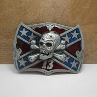 Buckles belts with skulls - BuckleHome Metal rebel belt buckle skull buckle confederate buckle with pewter plating FP