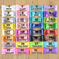 Wholesale 10cm mix color DIY hair accessories big sequin bow hair bows without alligator clip for girls hair clip and headband