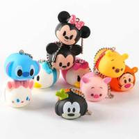 Wholesale 10pcs set Cute Mini Duck Mouse Plastic Toy Pendant Vinyl Toy Sound Production Tsum Tsum Kids Toy set retail