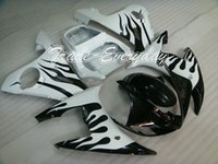 al por mayor yzf r6 llama blanca-Kit carenado Moldeo por inyección se ajusta para YZF600 R6 YZF 2003-2005 600R6 03-05 FIAT Negro Blanco Llamas ZM555