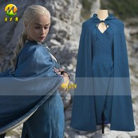 Wholesale Hot Sell Film TV Costume Game Of Thrones Cosplay Costumes Dragon Mother Daenerys Targaryen Costumes Blue Dress
