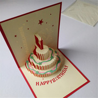 Wholesale High quality pure Handmade paper cards D color cake birthday cards are holiday gifts Christmas Gift Factory