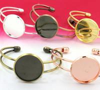 agate cameo - Rhodium plaqué mm Bracelet paramètres Cabochon rond Cameo Bangle Base plateaux lunette Blank réglage de Base pour Bracelet artisanat