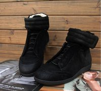 Wholesale 100 Real Photos High Quality Fashion maison martin margiela sneakers Cowhide Leather Ankle Boots Casual Sports mmm Hightop Sneaker Shoes