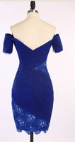 Wholesale New Style Blue Bateau Sheer Lace Short Cheap bridesmaid Dresses Cap Long Sleeves Evening Dress Prom Gowns Party