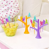Wholesale Creative home plastic birds fruit fork treetops suit signed package lovely kitchen tools suit color kitchen gadgets sale