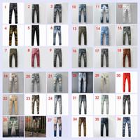 Wholesale 37 Colors Original Brand Pierre Balmain Jeans Men s Balmain Biker Jeans Hole Ripped Stretch Denim Balmai Casual Jean Men Skinny Pants