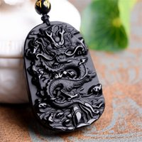 hand carved jade - 100 Natural Black Obsidian Hand Carved Dragon Lucky Pendant Necklace