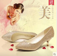 Wholesale Spring low heel shoes documentary shoes in the diamond Golden wedding shoe red high heeled shoes silver bride slipper shoes