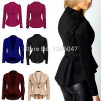Wholesale New Fashion Womens OL Jacket Long Sleeve Suit Blazer Dovetail Coat Lapel One Button Tops