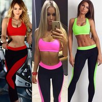 Wholesale Hot New summer Yoga fitness sports leisure suit two piece vest bra style Tops and long pants Tracksuits High elasticity