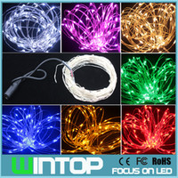 Christmas adapter copper wire - 33FT M LED Silver Copper Wire Waterproof Led String Light Holiday Seed Lights Colors with Power Adapter for Holiday Party Wedding