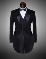 best men s dress pants - Custom Brand New cool Groom Tuxedos Men Wedding Dress Bridegroom Suit Best man Suit swallow tailed coat Jacket Pants tie waist